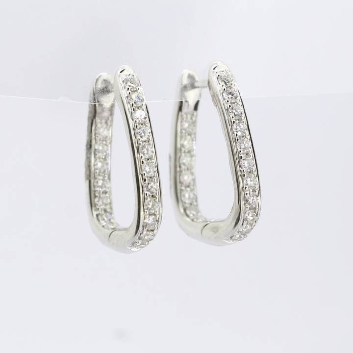 18ct White Gold Diamond Hoop Earrings 0.50ct 0543760