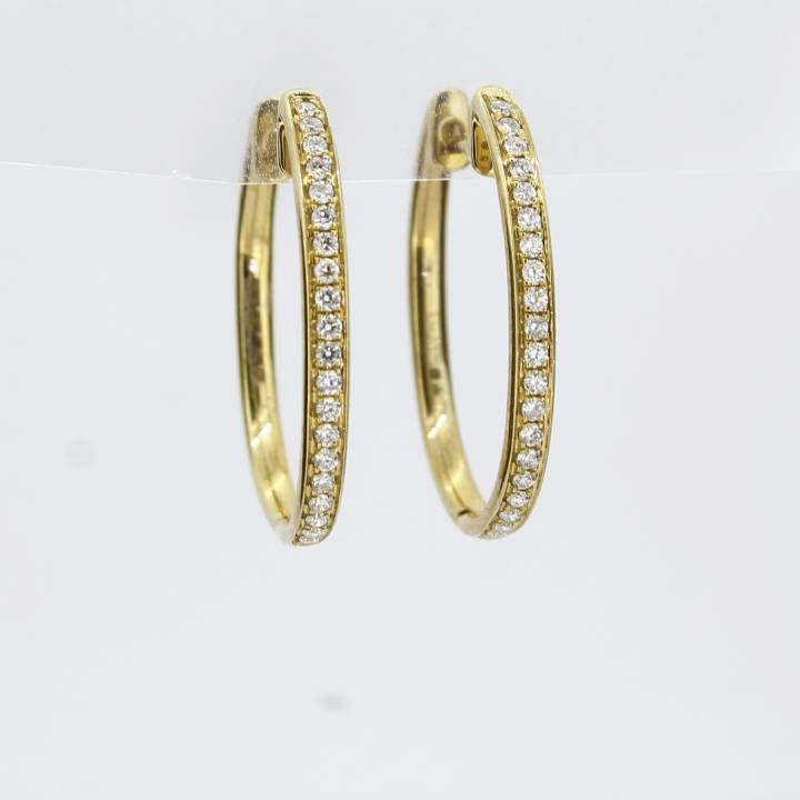 9ct Yellow Gold Diamond Oval Hoop Earrings 0.25ct 0543755