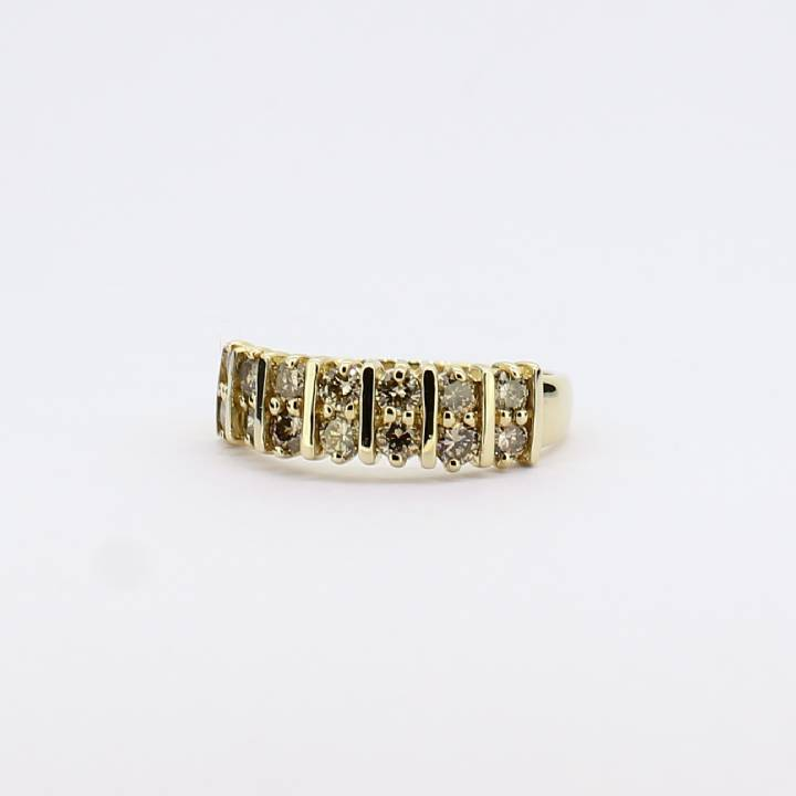 Pre-Owned 14ct Yellow Gold Diamond 2 Row Band Ring 0.84ct