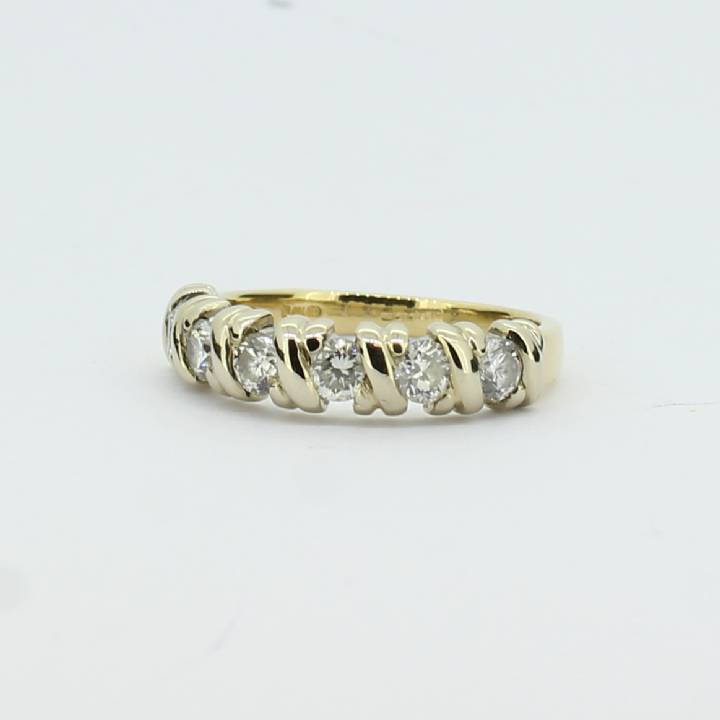 Pre-Owned 18ct Yellow Gold Diamond Half Eternity Ring 0.66ct 7105049