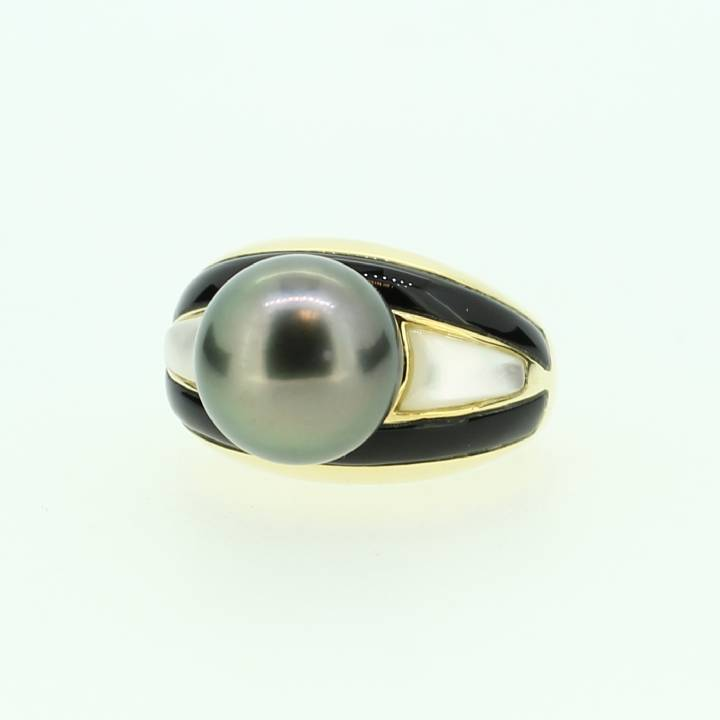 Pre-owned 18ct Yellow Gold, Onyx And Pearl Ring