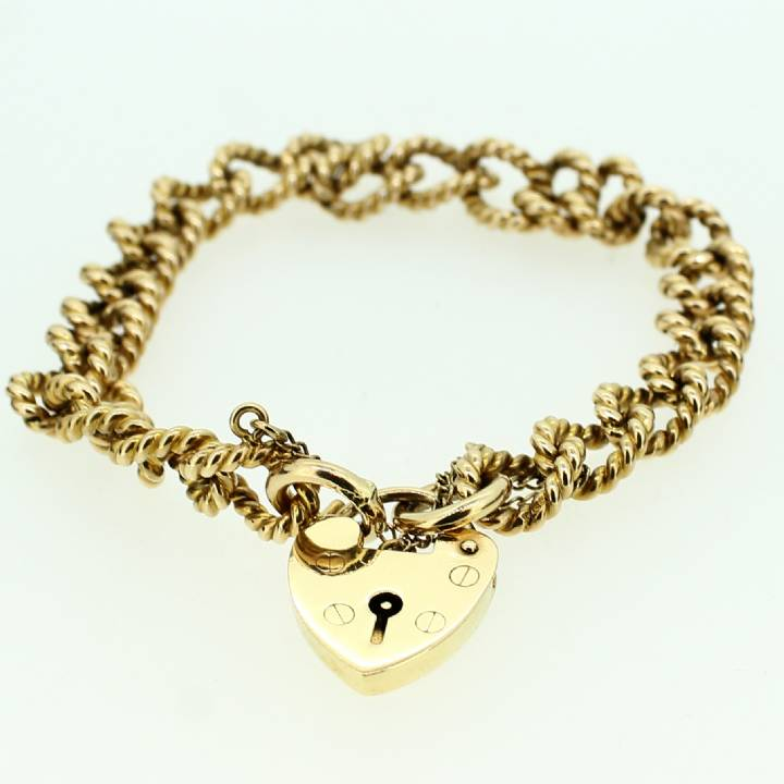 Pre-Owned 9ct Yellow Gold Charm Bracelet & Padlock