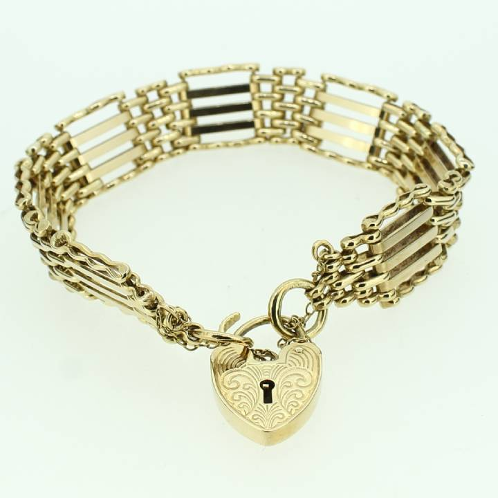 Pre-Owned 9ct Yellow Gold Gate Bracelet & Padlock