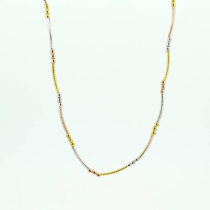 Pre-Owned 22ct  3 Colour Gold Bead Style Chain 18