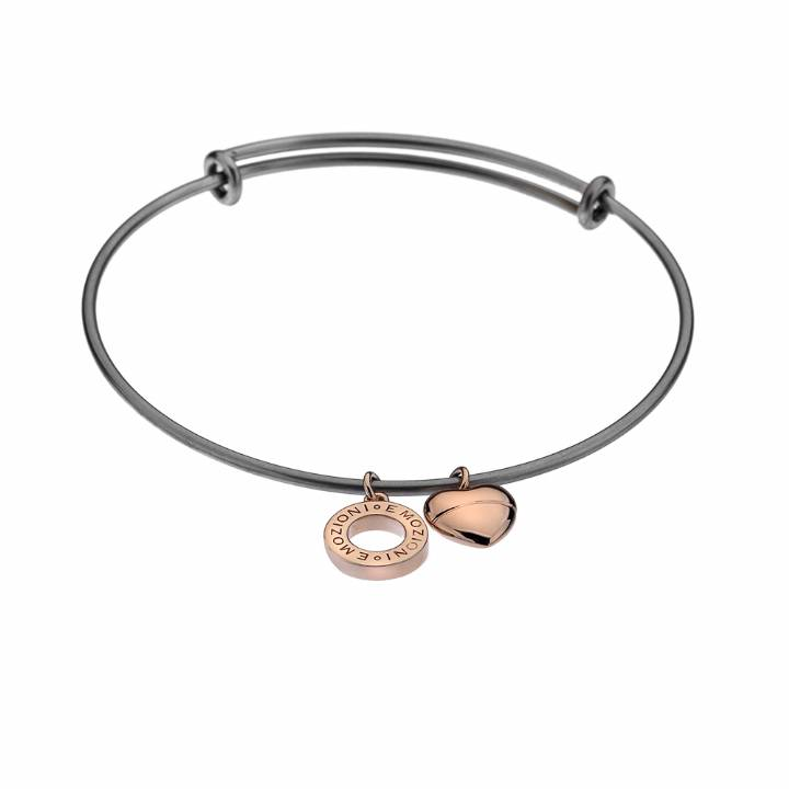 Emozioni Rose Gold Plated Plain Heart Bangle, was £19.95