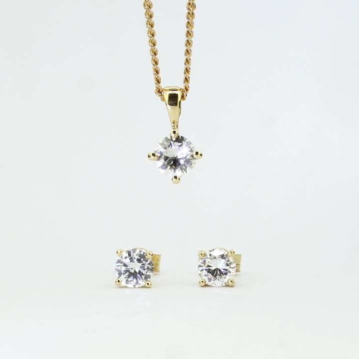 Pre-Owned 18ct Yellow Gold Diamond Pendant & Earrings Set 7113164