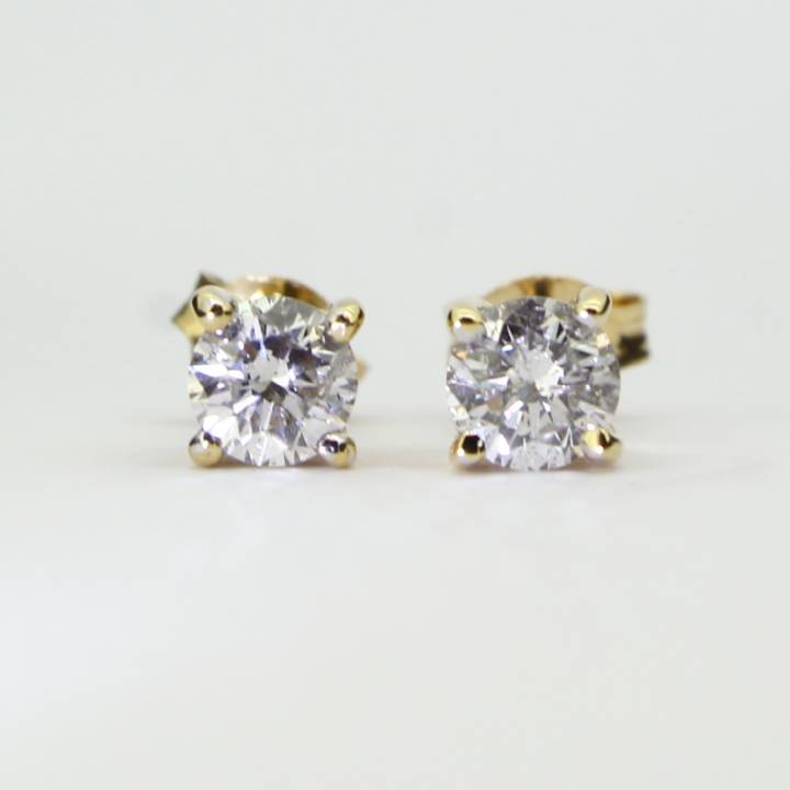 Pre-Owned Yellow Gold Diamond Solitaire Stud Earrings, 0.64ct