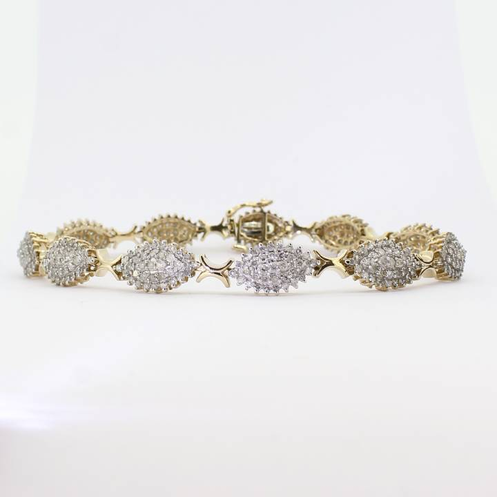 Pre-Owned Yellow Gold Diamond Cluster Bracelet, 3.85ct