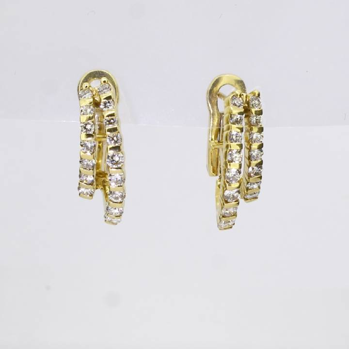 Pre-Owned 18ct Yellow Gold Diamond Double Hoop Earrings, 0.90ct