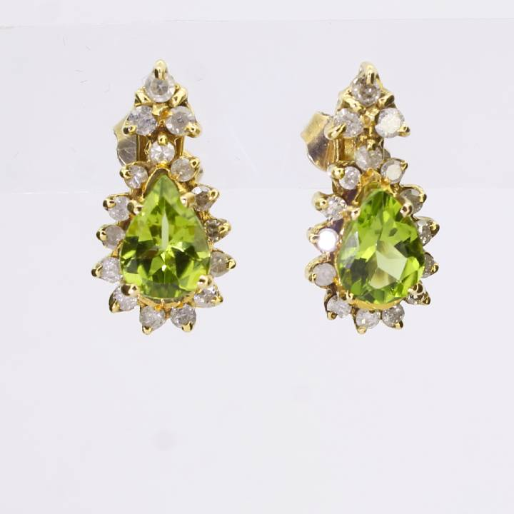 Pre-Owned 18ct Yellow Gold  Diamond And Spodumene Earrings