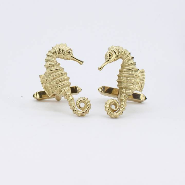 Pre-Owned Gents 9ct Yellow Gold Seahorse Cufflinks