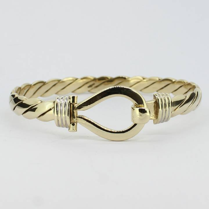 Pre-Owned Ladies  9ct Yellow Gold Hook And Eye Bangle 7003245