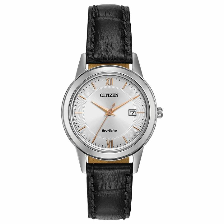 Citizen Ladies Eco-Drive Black Leather Strap Watch, Was £139 0103298