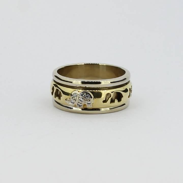 Pre-Owned 18ct Gold Elephant Diamond Set Spinner Ring