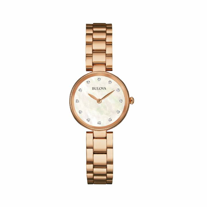 Bulova Ladies Rose Gold Plated Diamond Watch 97S111, Was £325 0140036