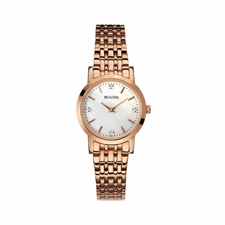 Bulova Ladies Rose Diamond Set Dial Watch, Was £249 0140017