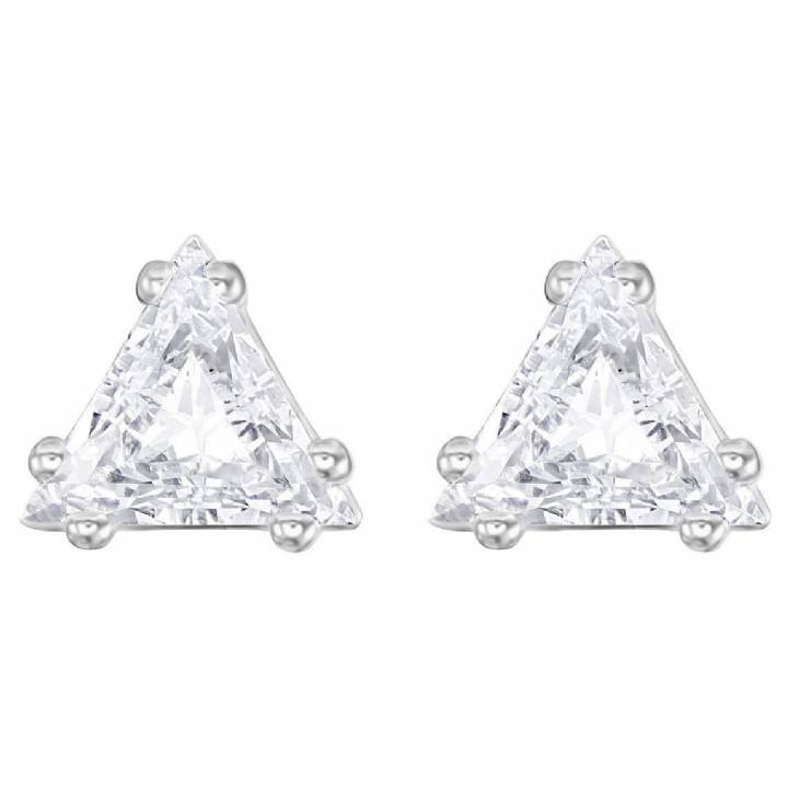 Swarovski Attract Rhodium Plated Triangle Earrings, Was £45.00