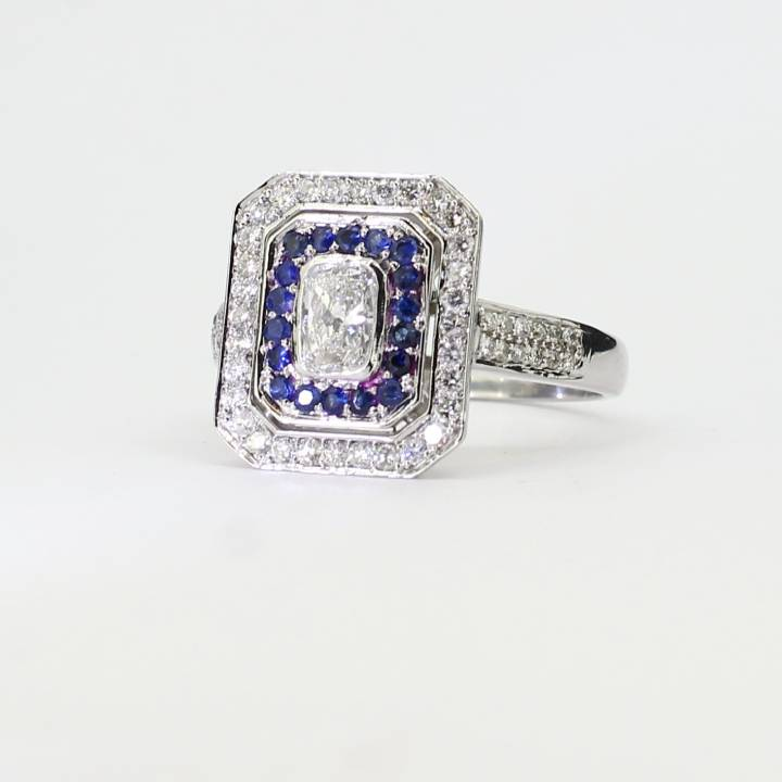 Pre-Owned 14ct White Gold Diamond And Sapphire Cluster Ring