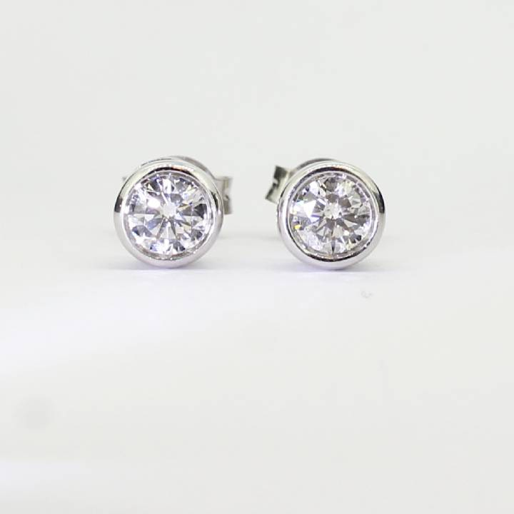 Pre-Owned 9ct White Gold Diamond Solitaire Earrings 0.80ct 1607395