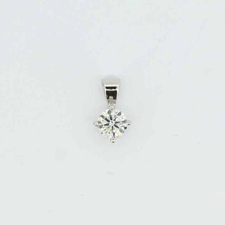 Pre-Owned 18ct White Gold Diamond Solitaire Pendant 0.52ct 1607422