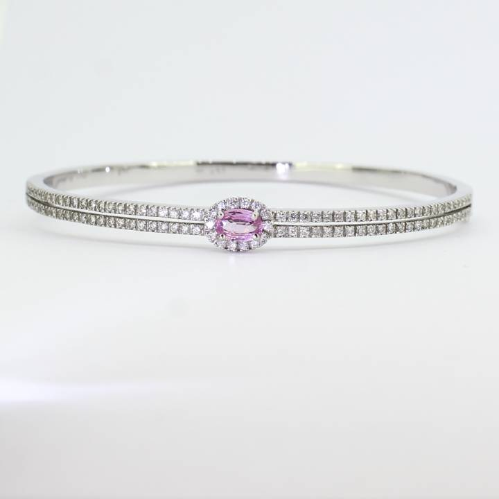 Pre-Owned 18ct White Gold Diamond & Pink Sapphire Bangle 1607419
