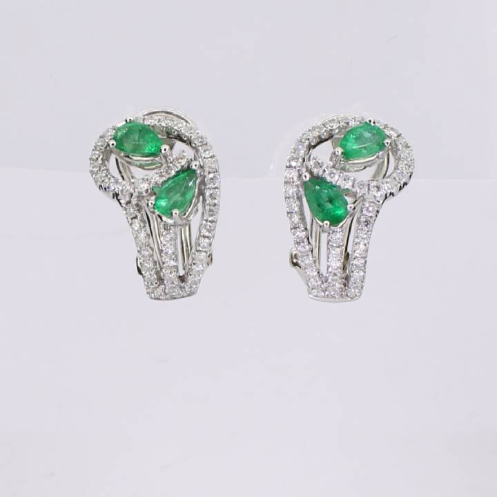Pre-Owned 18ct White Gold Diamond And Emerald Earrings 1607405