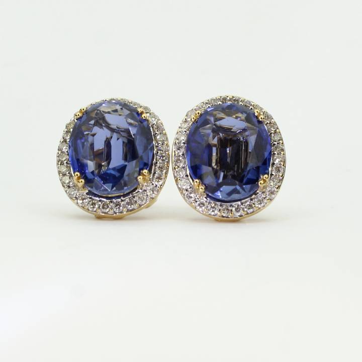 Pre-Owned 18ct Yellow Gold Diamond & Sapphire Earrings