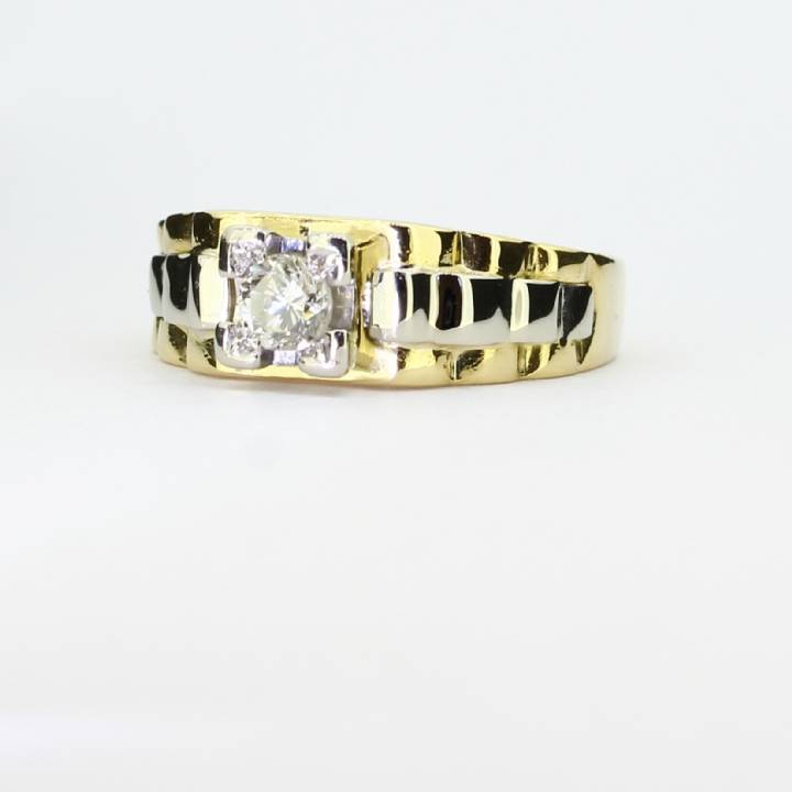 Pre-Owned Gents 2 Colour Gold Diamond Solitaire Ring