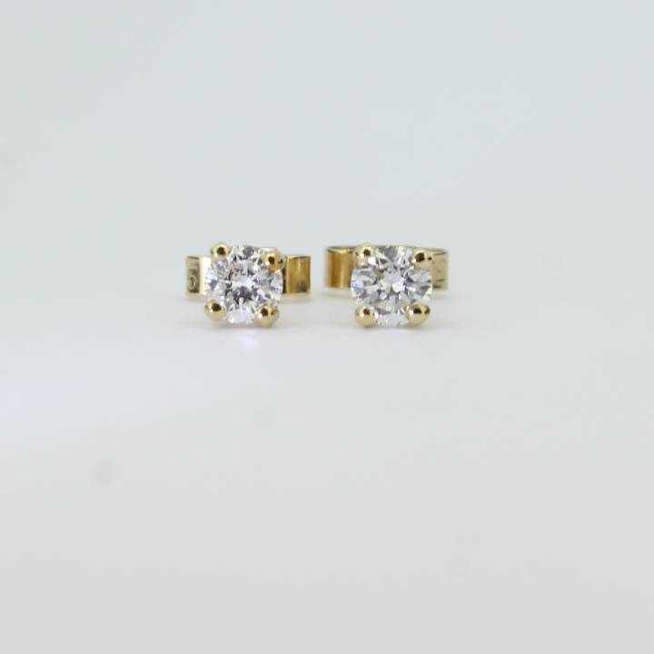 Pre-Owned 9ct Yellow Gold Diamond Solitaire  Earrings 0.50ct
