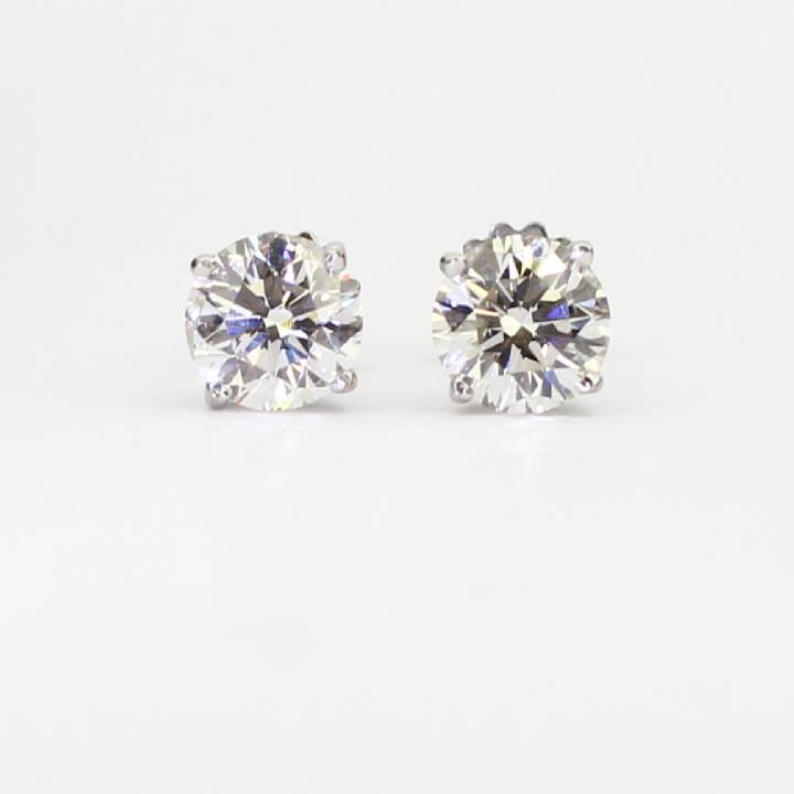 1c47e56959d1 Pre-Owned 18ct White Gold Diamond Solitaire Stud Earrings 2.42ct