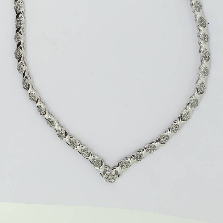 Pre-Owned 9ct White Gold Diamond Necklet 1.50ct Total 7113189