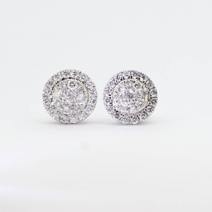 Pre-Owned 18ct White Gold Diamond Cluster Earrings 1.00ct Total