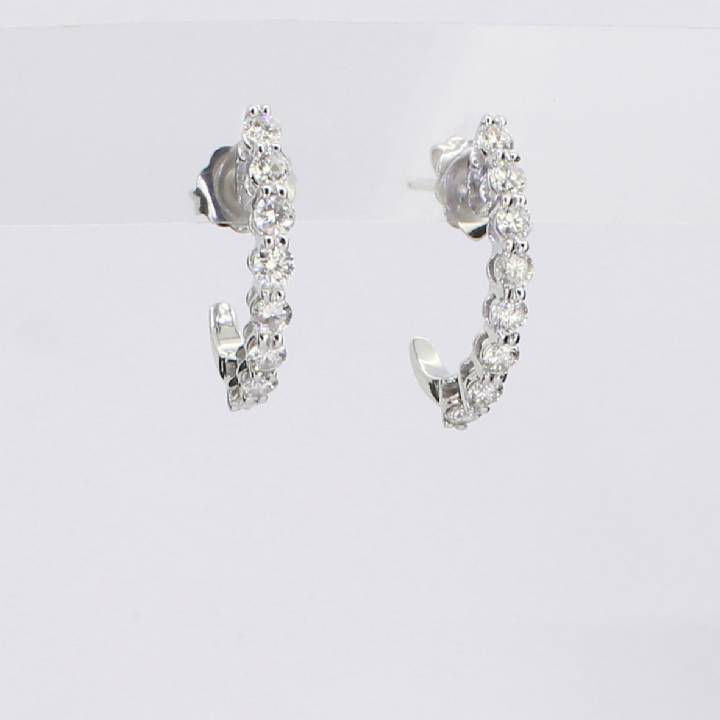 Pre-Owned 18ct White Gold Diamond Half Hoop Earrings 0.80ct 1607439