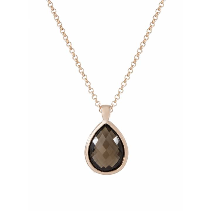 Bronzallure Alba Smokey Quartz Pendant & Chain, Was £109.00