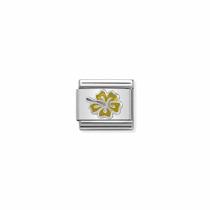 Nomination Steel & Silver Yellow Enamel Hibiscus Charm