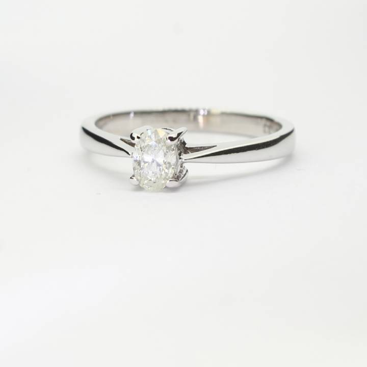 Pre-Owned 18ct White Gold Diamond Solitaire Ring 0.37ct