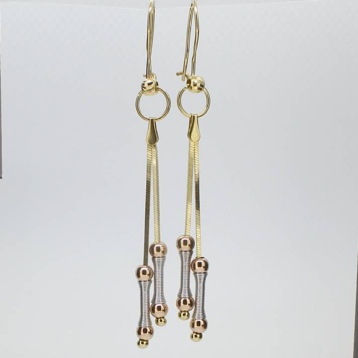 Pre-Owned 3 Colour Gold 2 Strand Fancy Drop Earrings 1515873