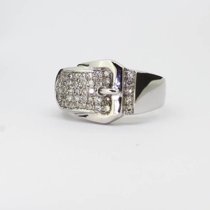 Pre-owned Gents  18ct White Gold Diamond Set Buckle Ring 1622858