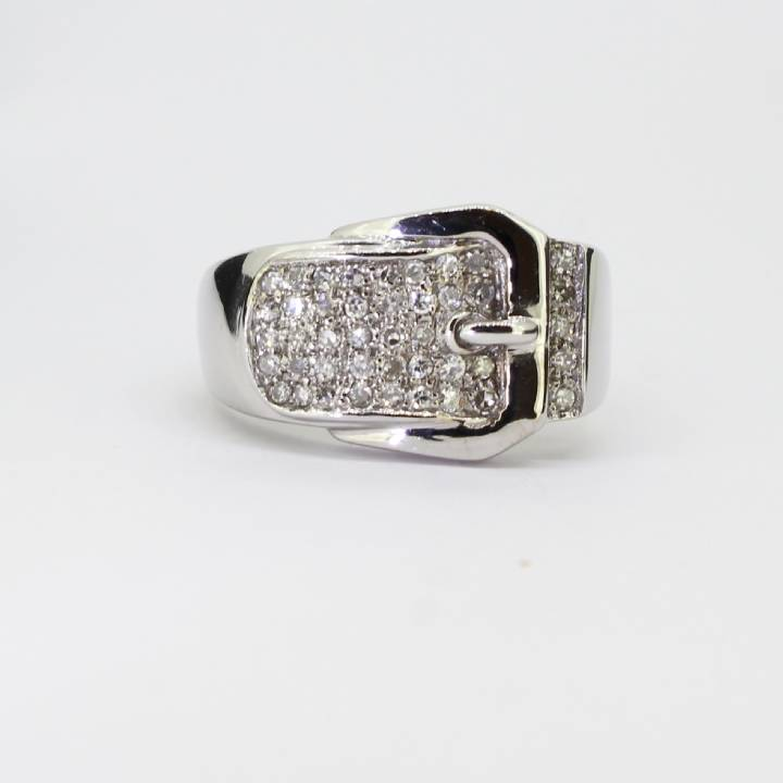 1ec44aacb6eb9 Details about Pre-owned Gents 18ct White Gold Diamond Set Buckle Ring