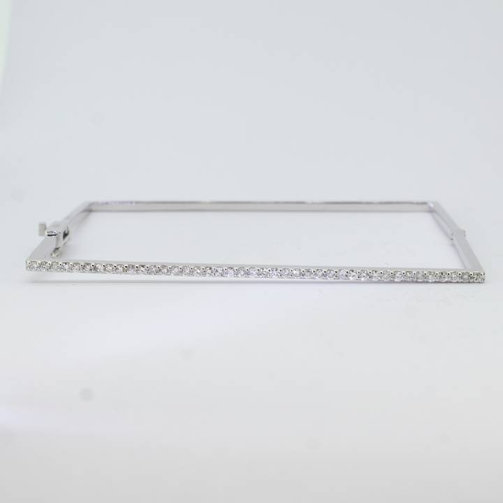Pre-Owned 18ct White Gold Diamond Square Bangle 0.41ct Total 7113200