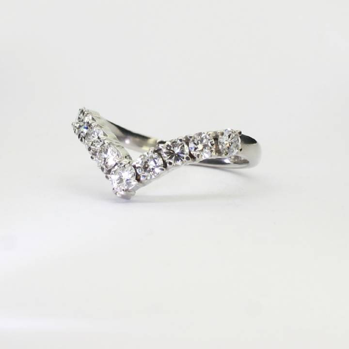 Pre-Owned 18ct White Gold Diamond Wishbone Ring 0.80ct Total