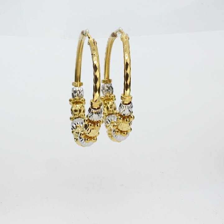 Pre-Owned 22ct 2 Colour Gold Beaded Hoop Earrings