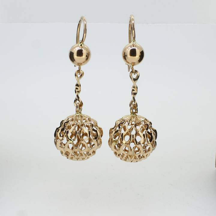 Pre-Owned 18ct Yellow Gold Open Ball Drop Earrings