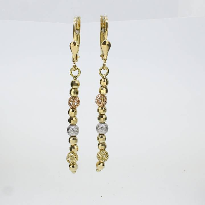 Pre-Owned 18ct Gold Long Fancy Beaded Drop Earrings 1515910