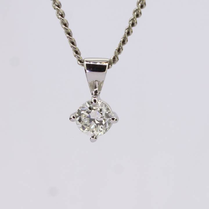 Pre-Owned 18ct White Gold Diamond Solitaire Pendant 0.47ct 1607454