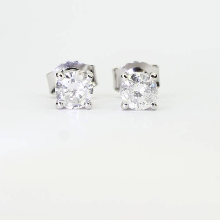 Pre-Owned 18ct White Gold Diamond Solitaire Stud Earrings 0.93ct