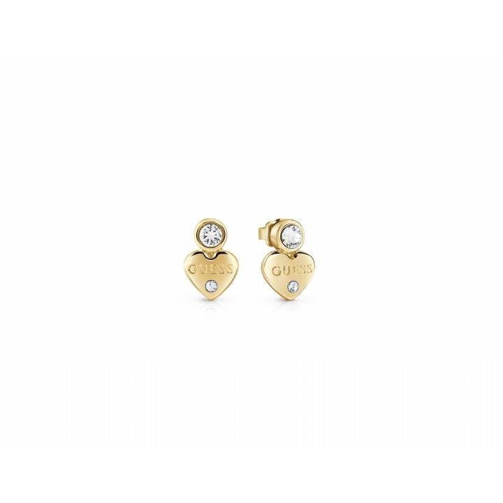 Guess Guessy Gold Plated Crystal Heart Stud Earrings, Was £29.00