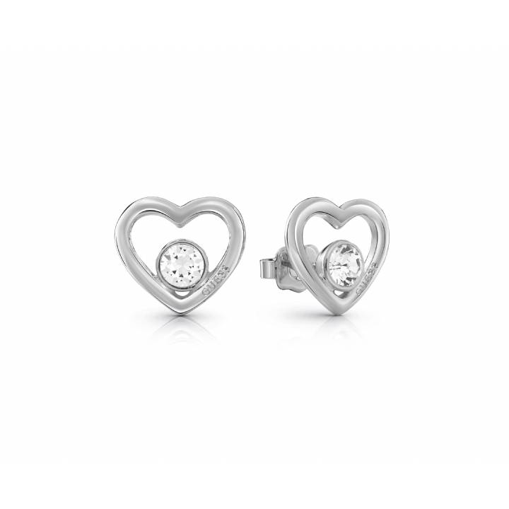 Guess Rhodium Plated Princess Heart Crystal  Earrings,Was £29.00 1401700