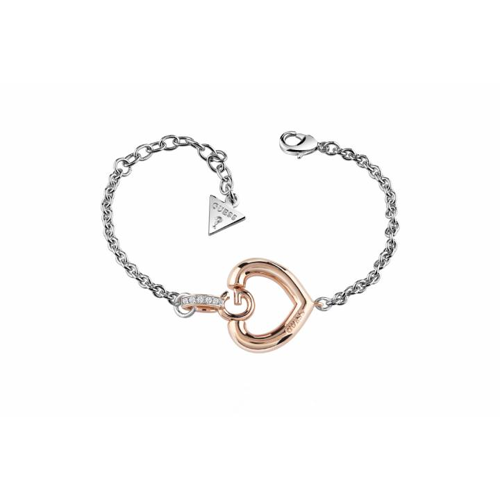 Guess Rhodium & Rose Plated Gisele Bold G Bracelet, Was £49.00 1401641