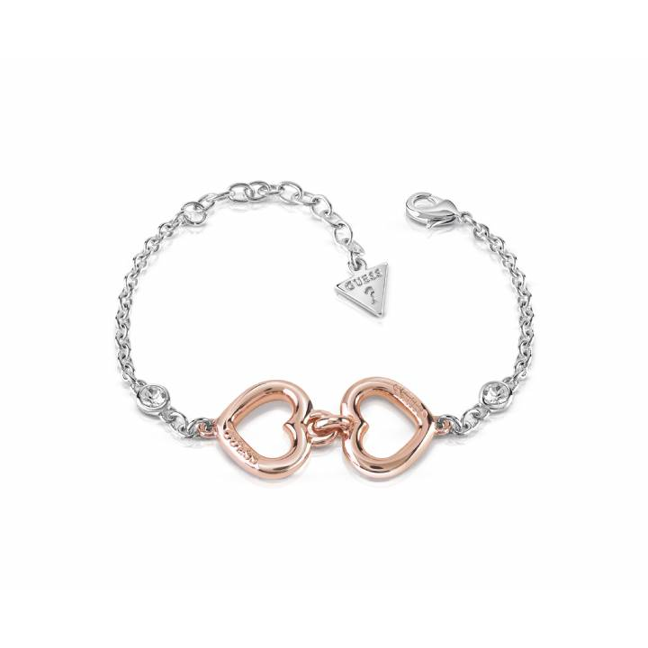 Guess Rhodium & Rose Plated Double Heart Bracelet, Was £49.00
